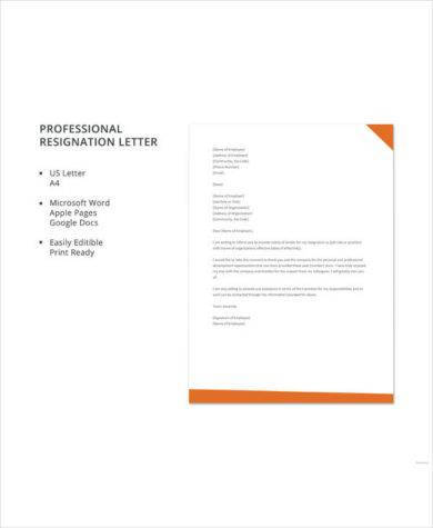 professional resignation letter template1