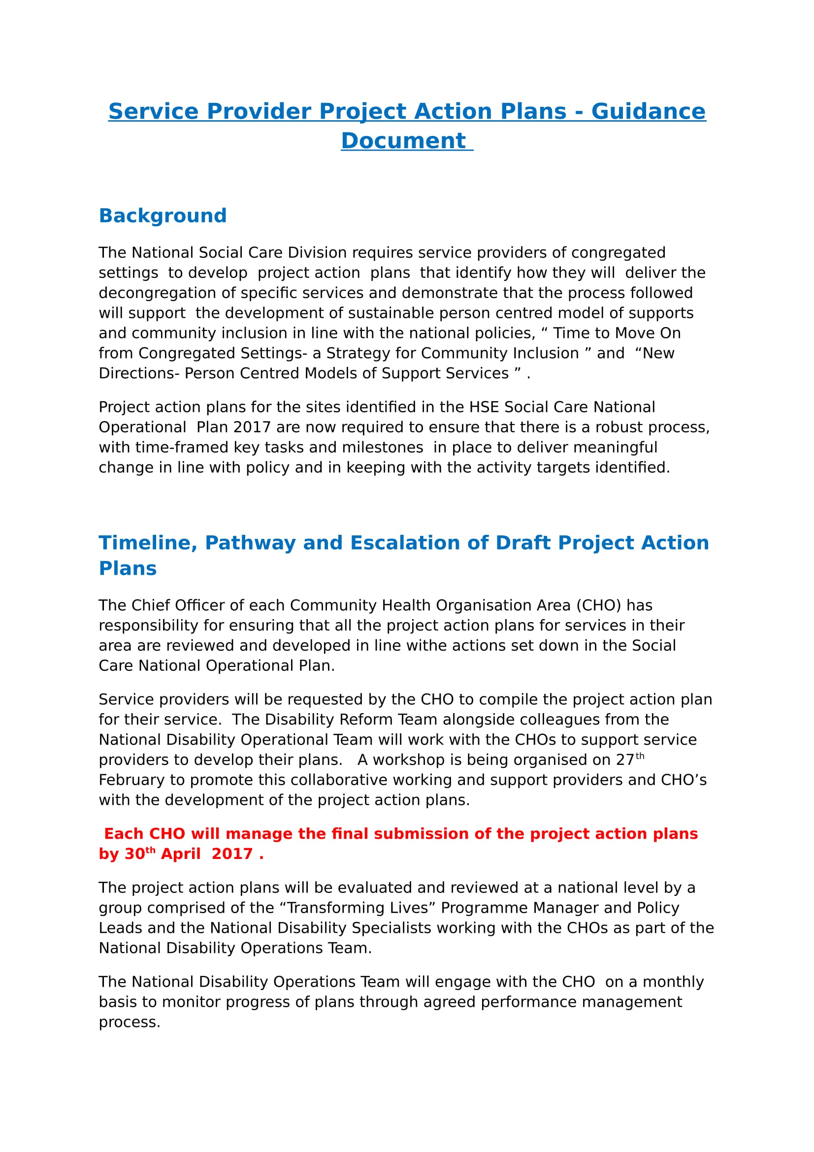 project action plans guidance document example 1