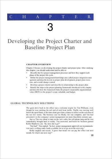 project charter and baseline project plan development example
