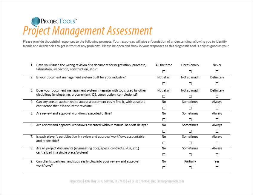 project management assessment
