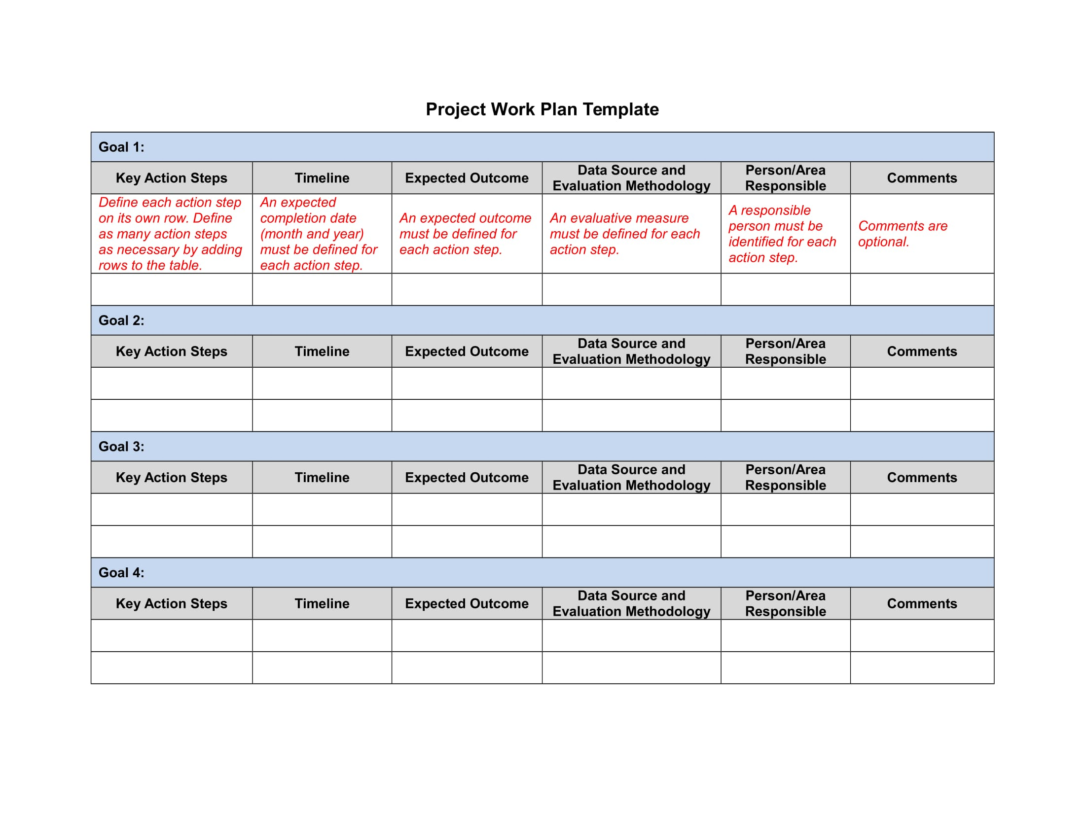 project work plan template example 1