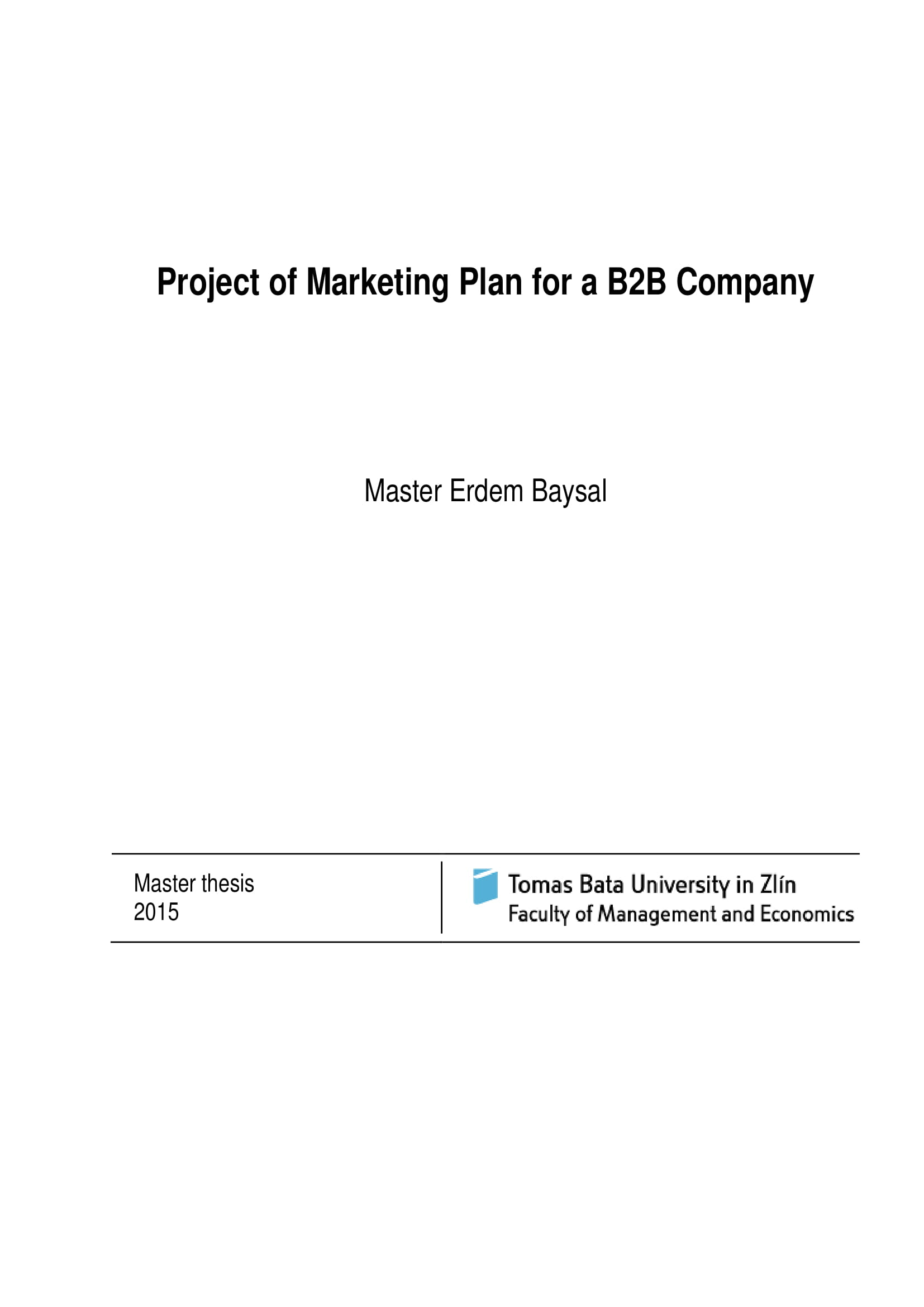 project of a marketing plan for a b2b company example 01