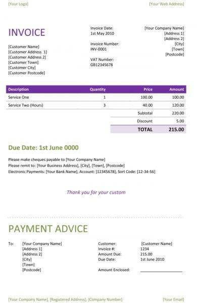 purple freelance invoice example