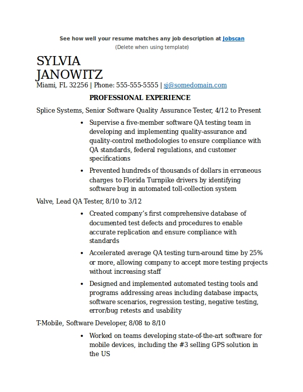 qa tester resume template example