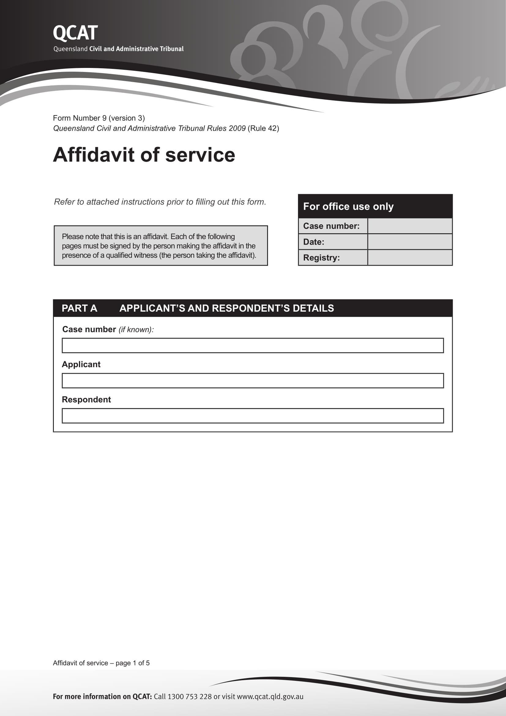 qcat affidavit of service