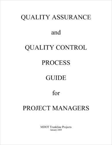 quality assurance and quality control process guide planning example