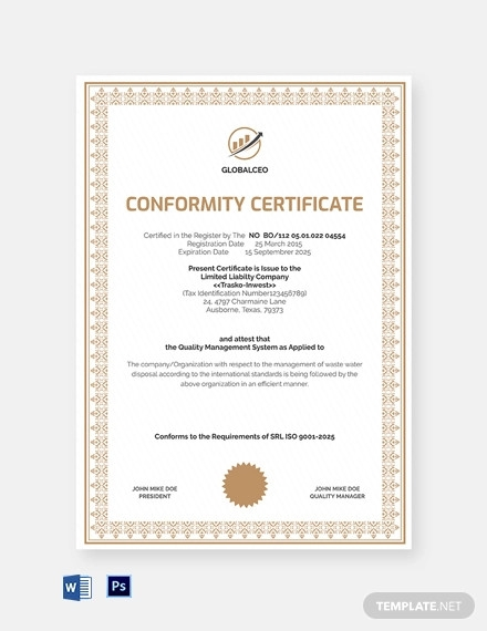 quality system conformance certificate