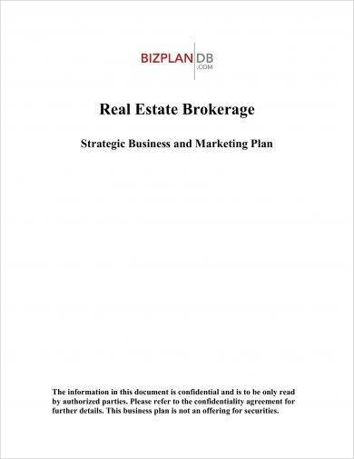 real estate brokerage strategic business and marketing plan example