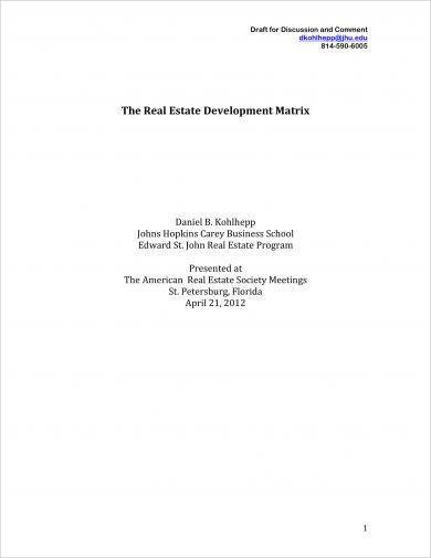 real estate development matrix and strategic plan example