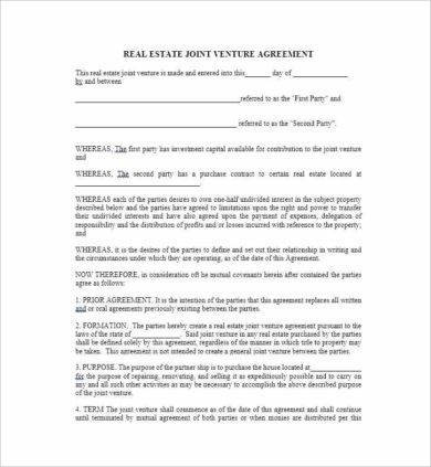 real estate joint venture agreement1