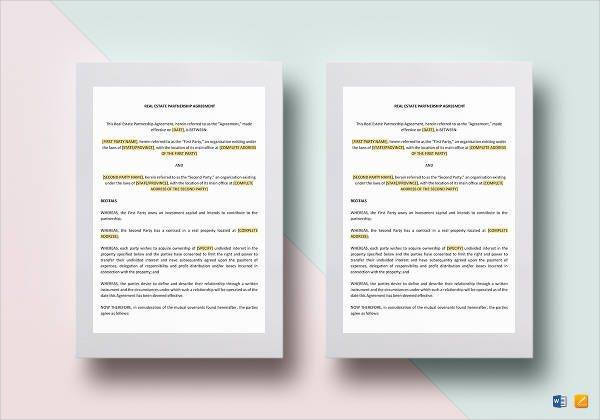 real estate partnership agreement example1