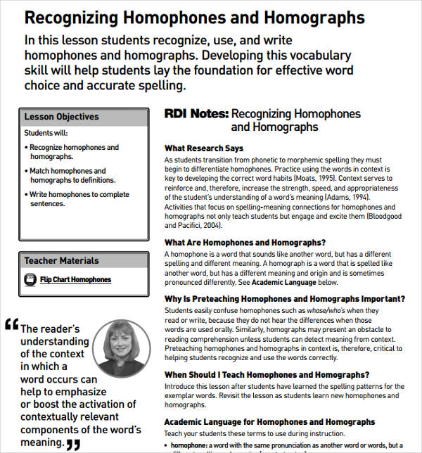 recognizing homophones and homographs example