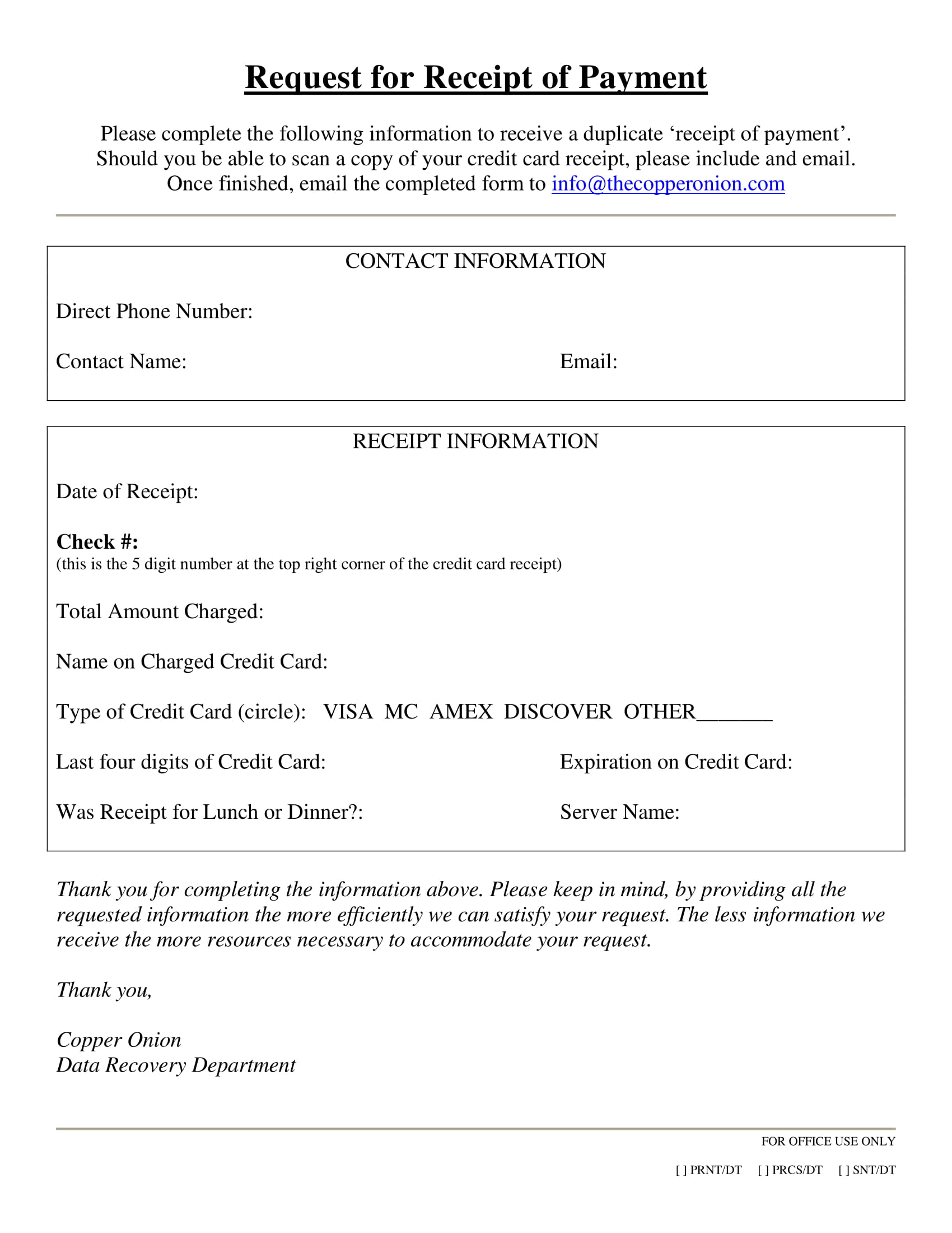 request for receipt of payment example