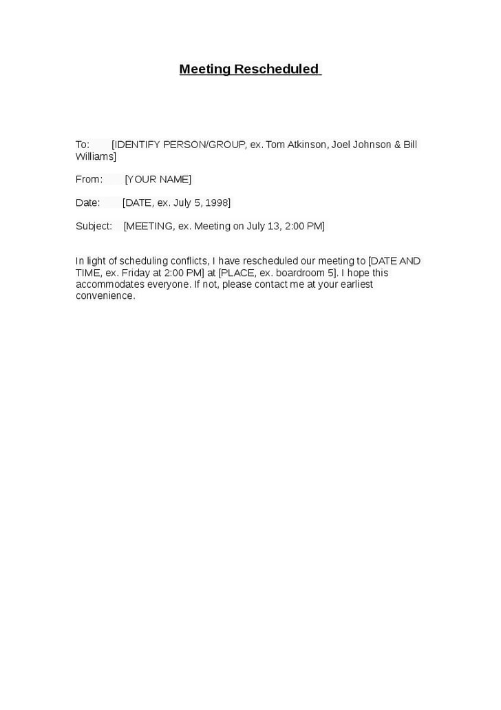 reschedule meeting letter example