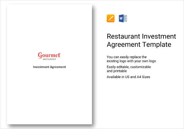 restaurant investment agreement example