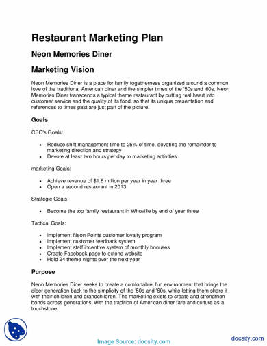 restaurant marketing plan neon memories diner with
