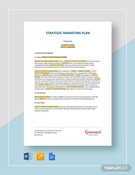 restaurant strategic marketing plan template1