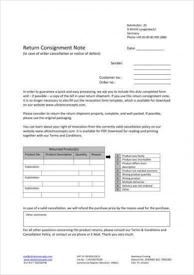 return consignment note example1