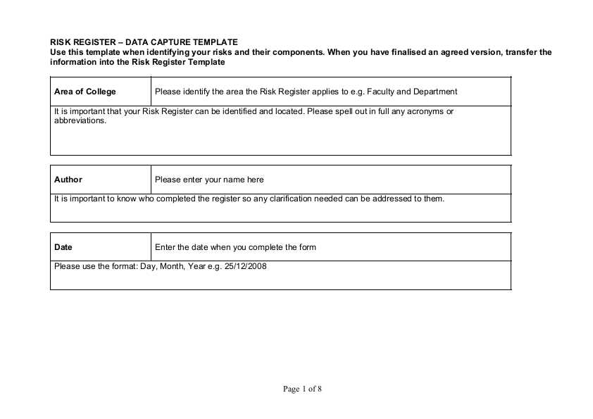risk register – data capture template example