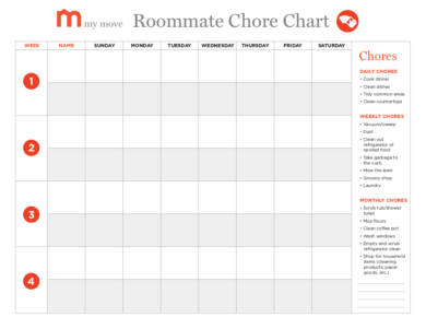 roommate chore chart example