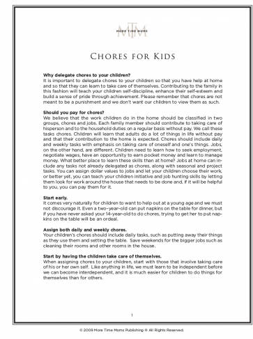 Rotating Chore Chart For Kids Example