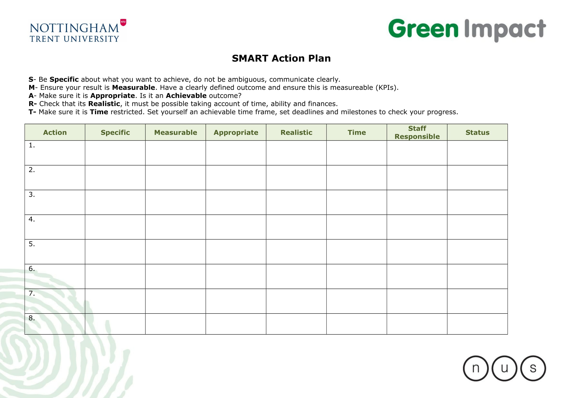 smart action plan template example 1