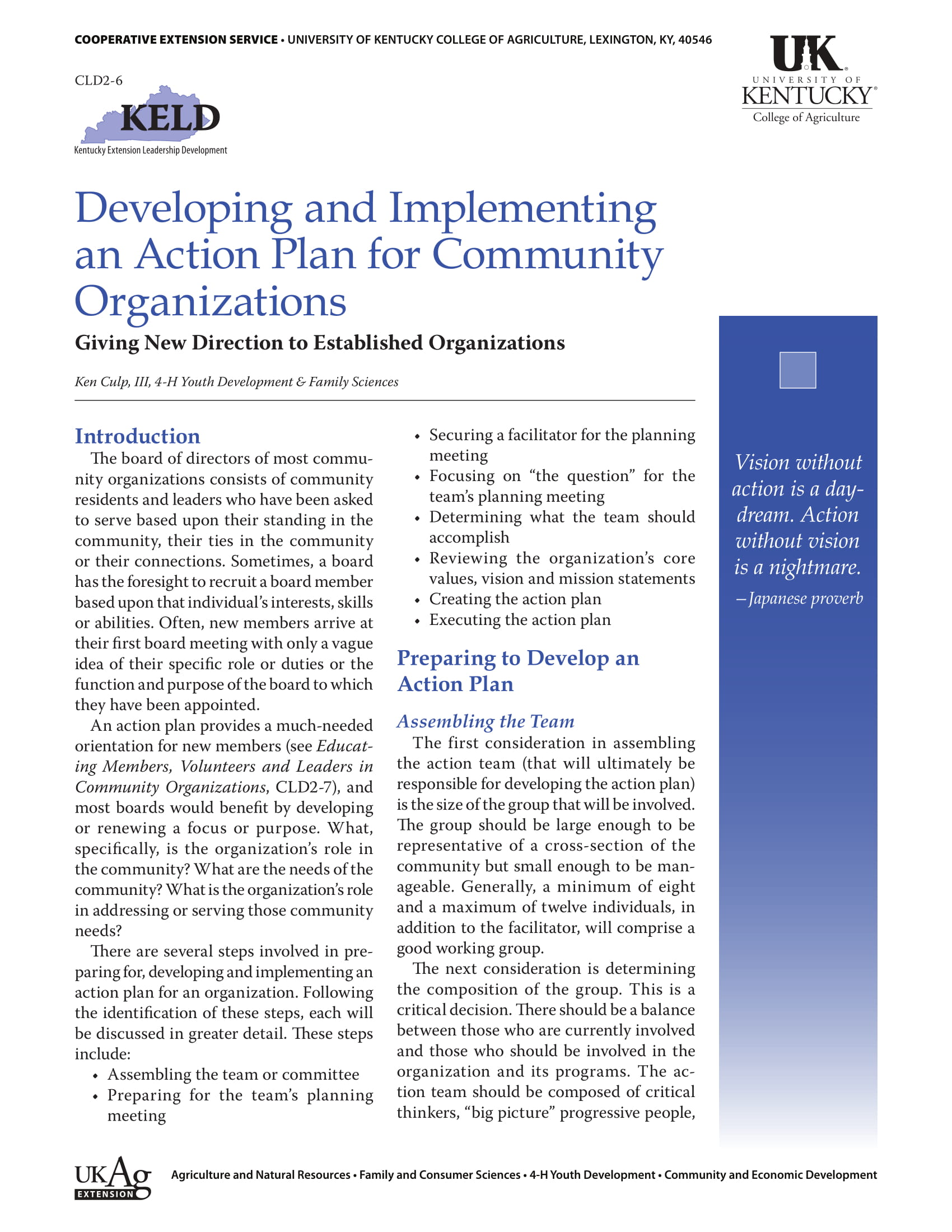 smart action plan for community organization example 1