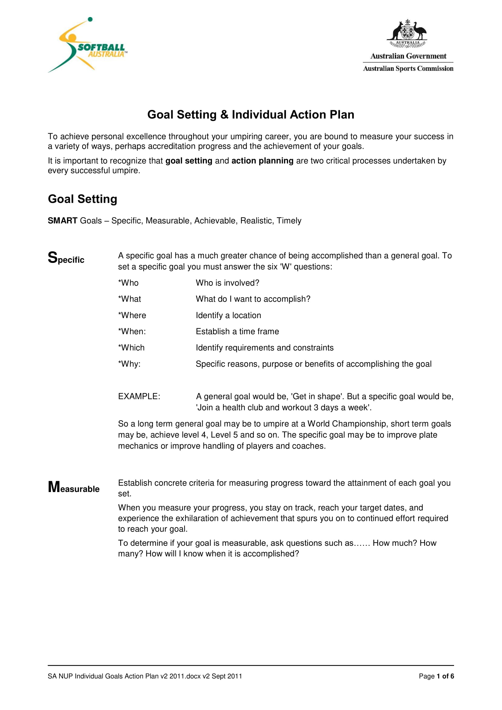 smart goal setting and individual action plan example 1