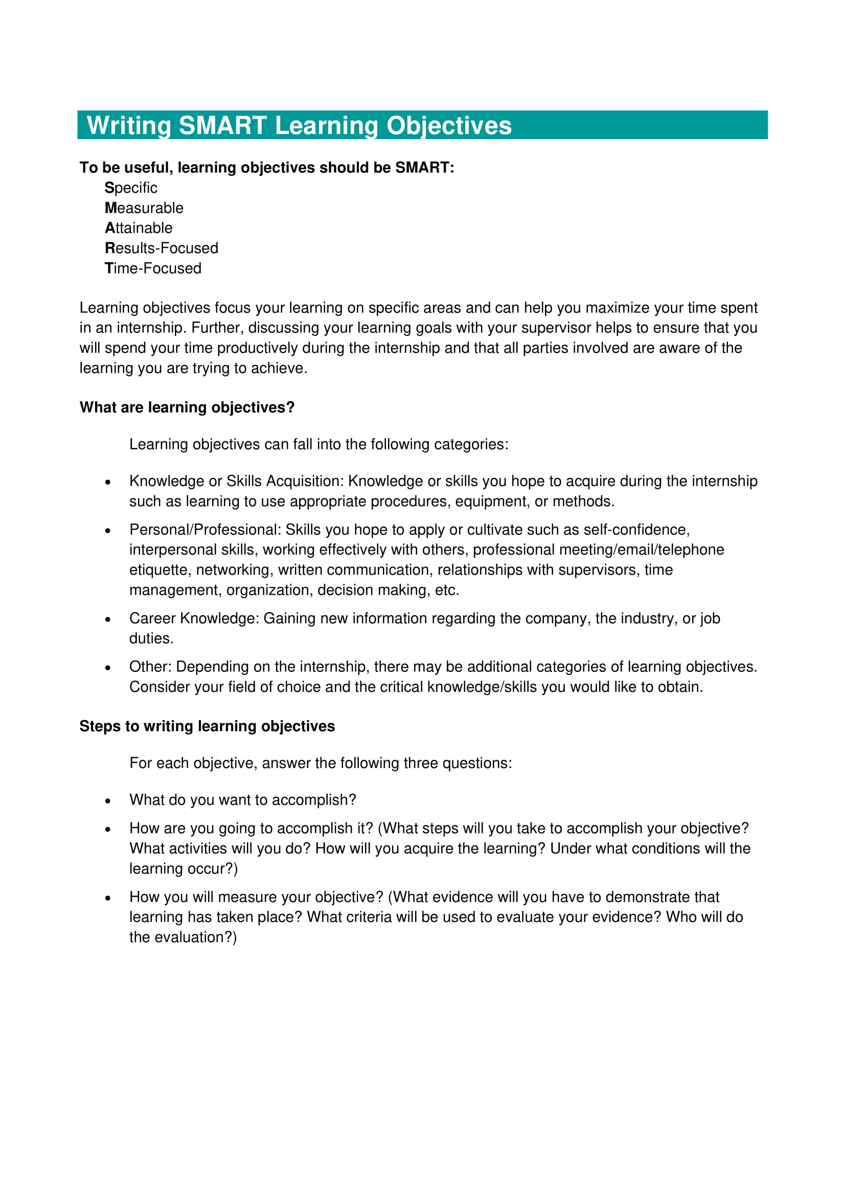 smart learning action plan and objectives example 1