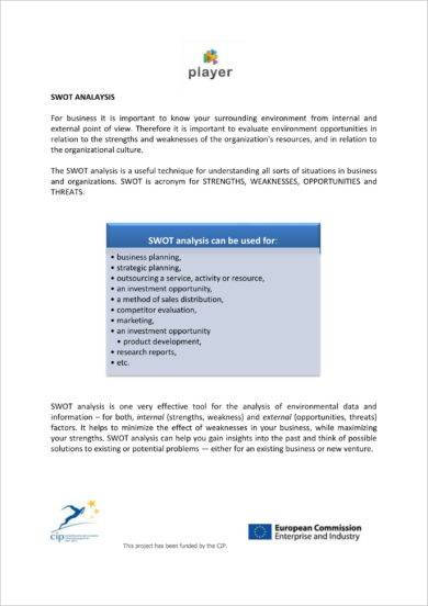 swot analysis for business planning and competition evaluation example
