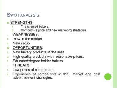 swot analysis of a bakery marketing plan1