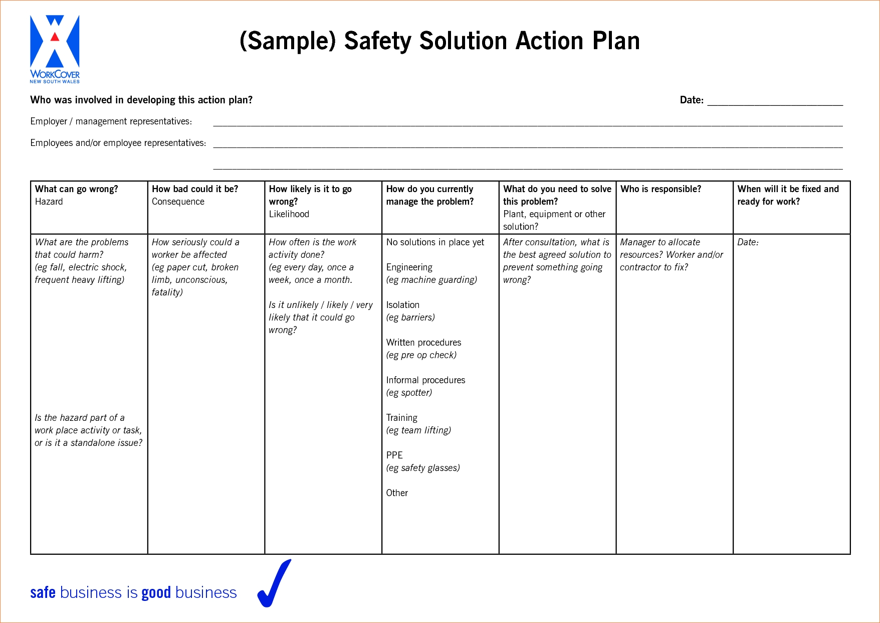 Work Plan Template | 9 Work Action Plan Examples Doc