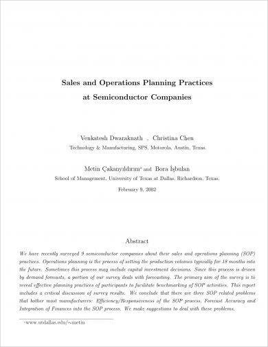 sales and operations planning action plans and practices example