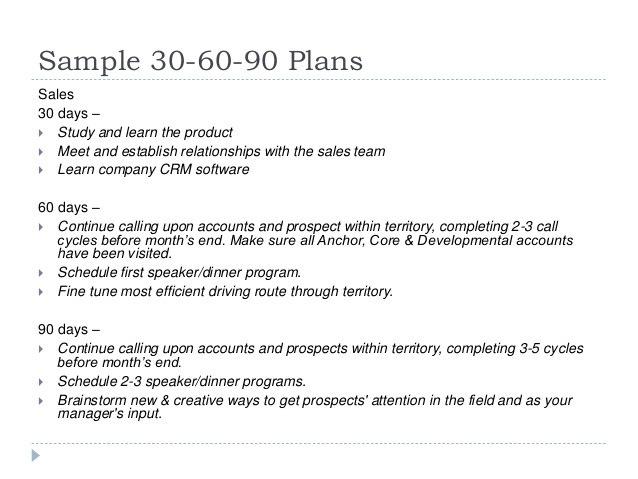 sample 90 day plan