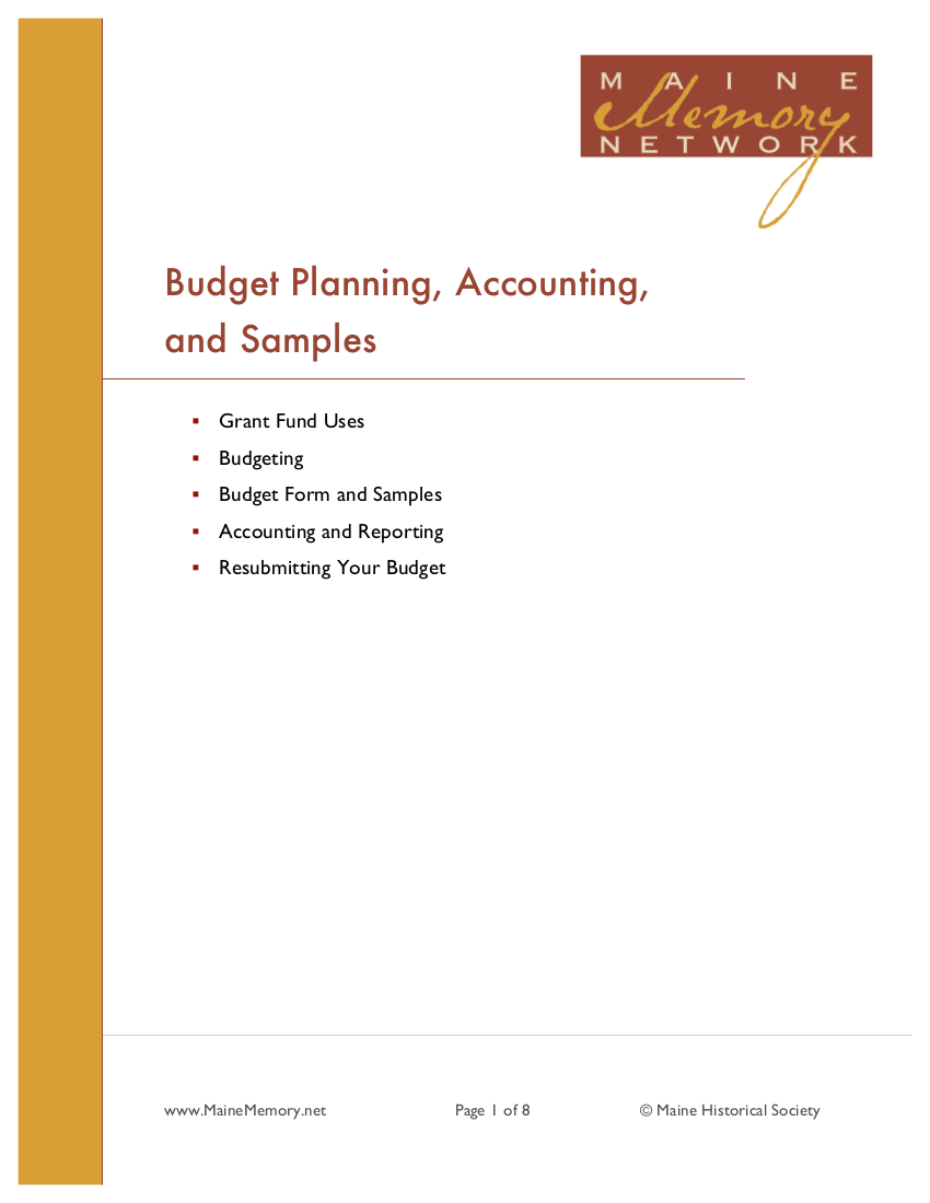 sample budget action planning