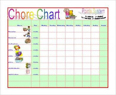 sample chore chart to reduce moms work1