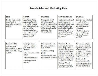 sample daily sales and marketing plan example1