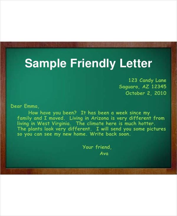 sample friendly letter1