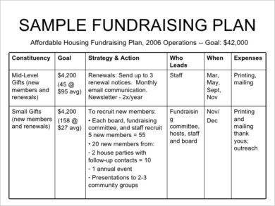 sample fundraising strategic plan example