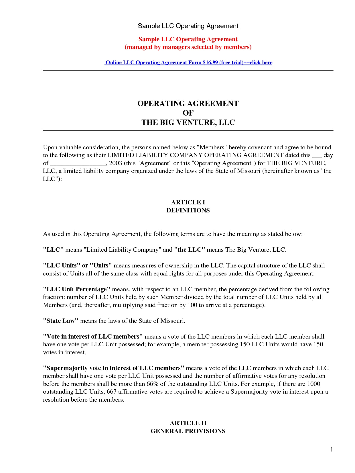 sample llc operating agreement example