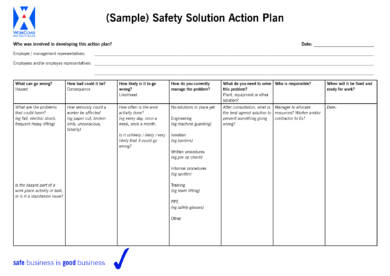 sample safety solution action plan