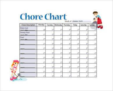 sample weekly chore chart example1