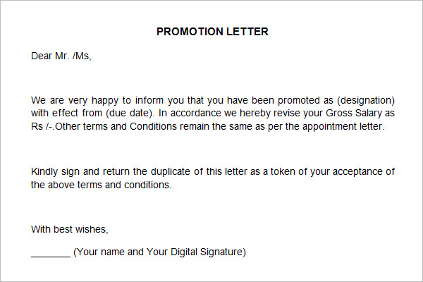 sample for promotion recommendation letter example