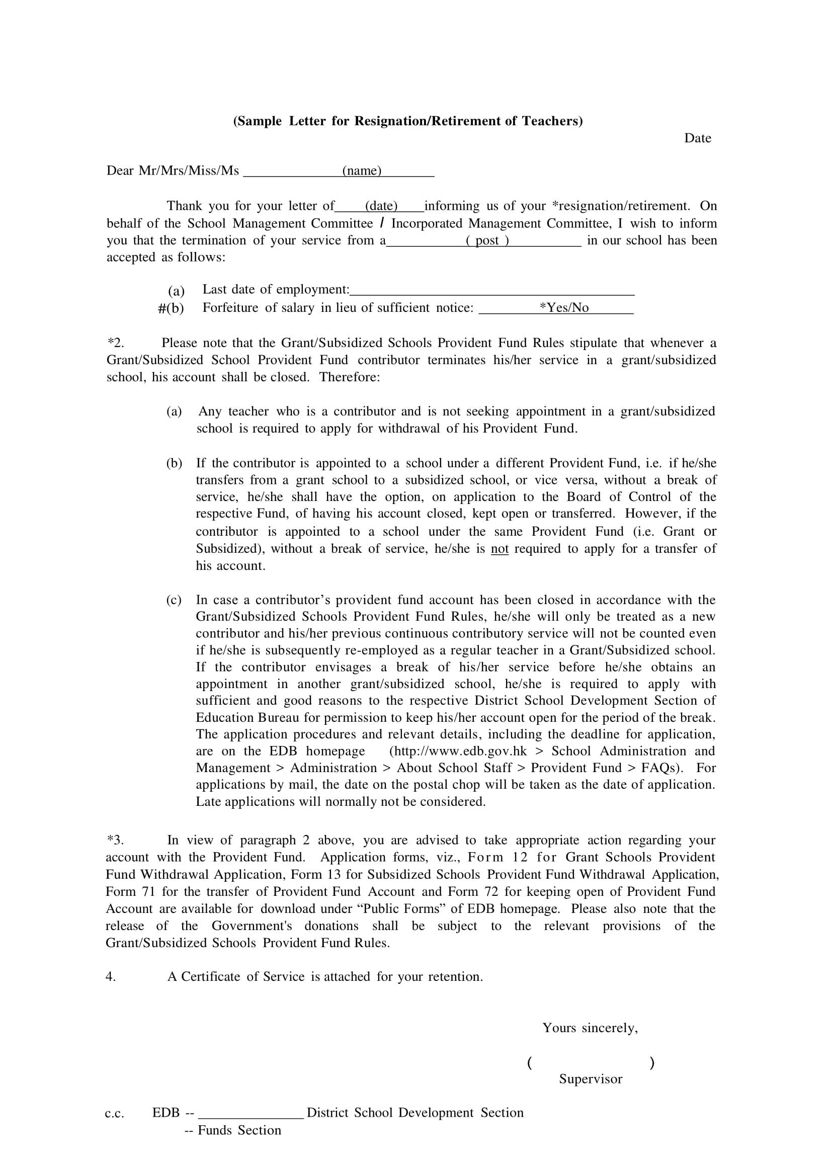 school teacher resignation retirement letter example