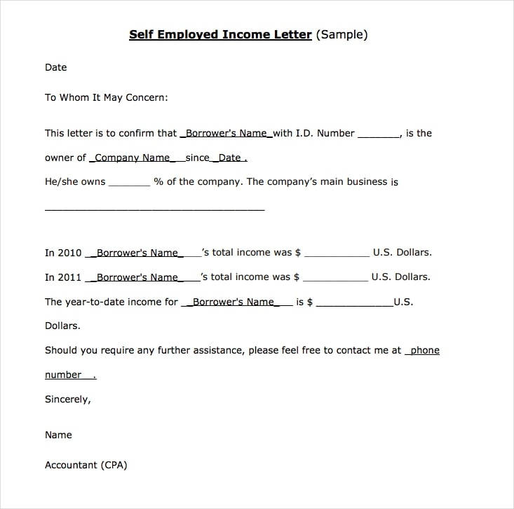 self employed income verification letter example2