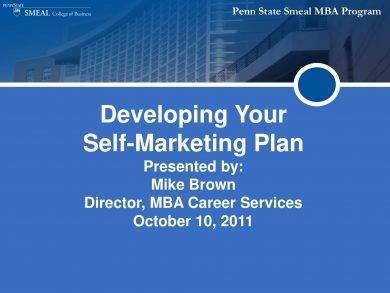 self marketing plan example