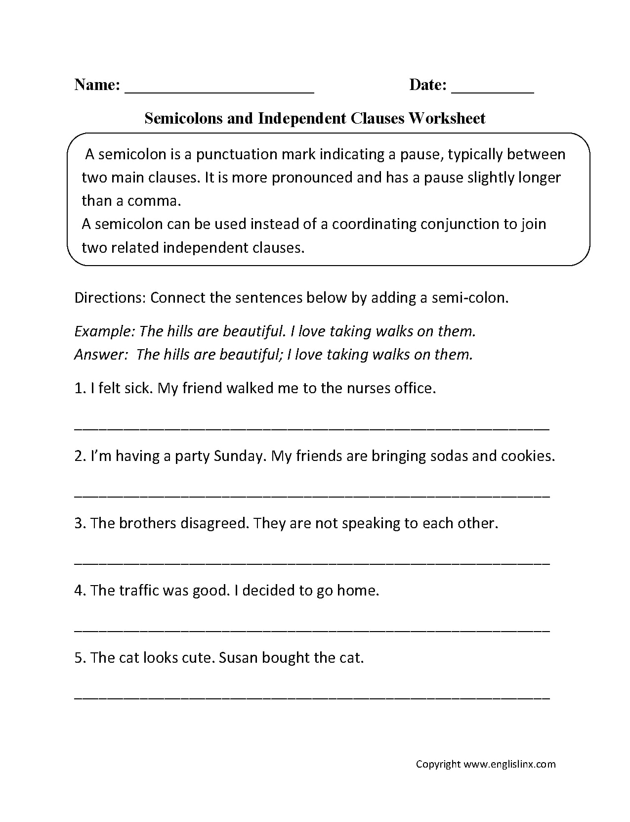 Independent Clause Examples With Worksheet Samples In Pdf