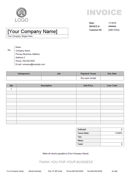 service invoice example