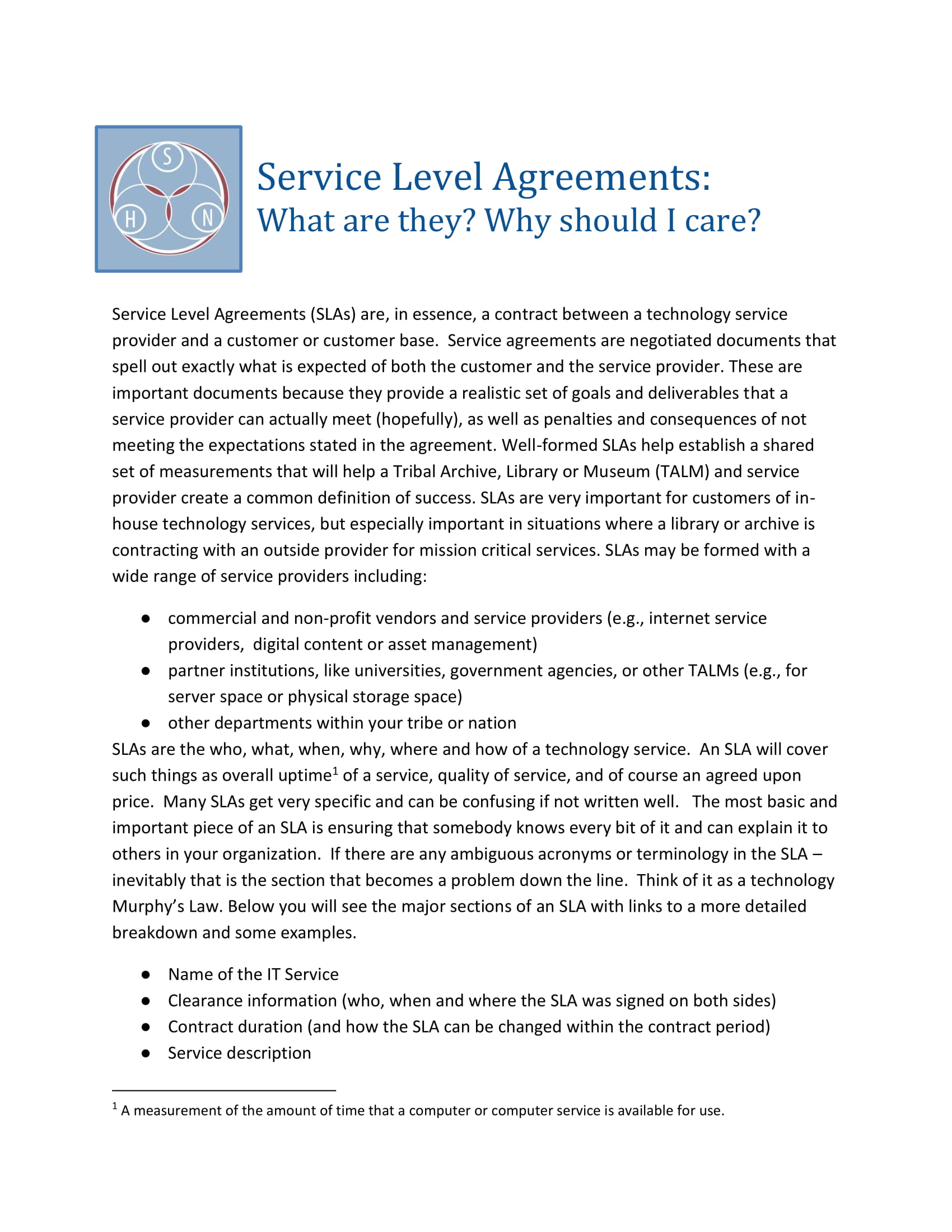 service level agreement guides example 1