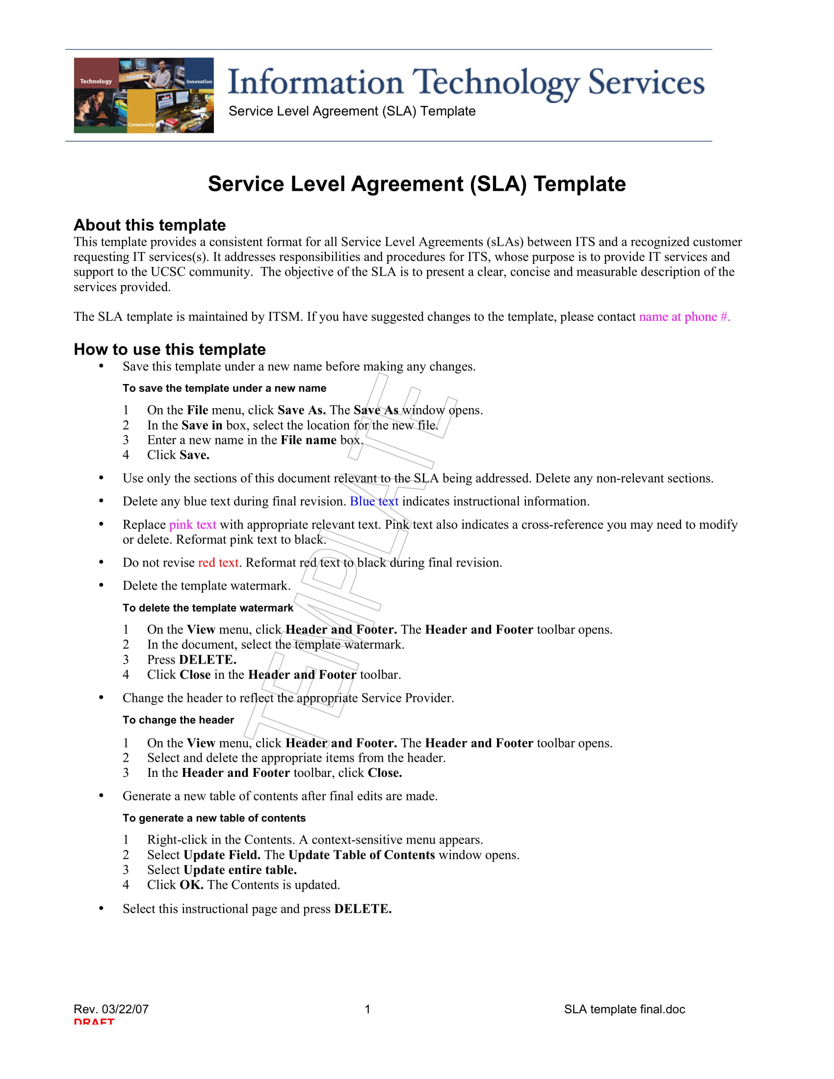 service level agreement template example 11